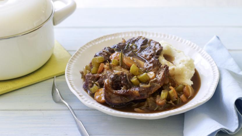 Beer-braised beef with creamy mash