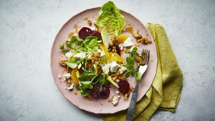 Beetroot, walnut and orange salad with orange blossom dressing