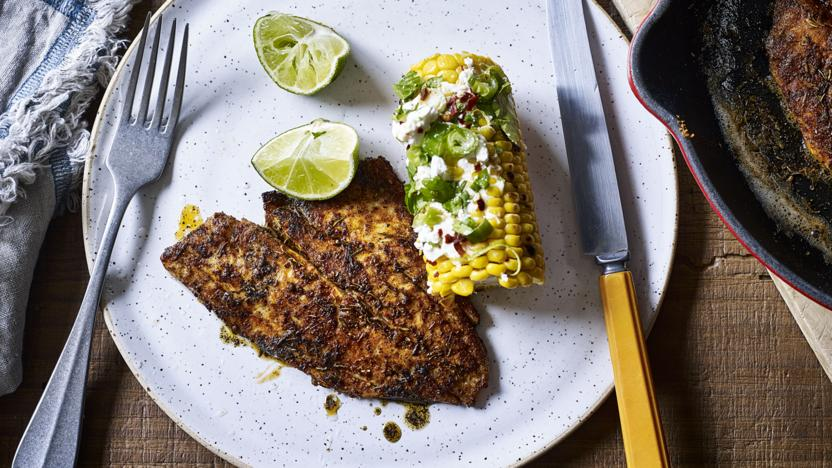 Blackened barbecued fish
