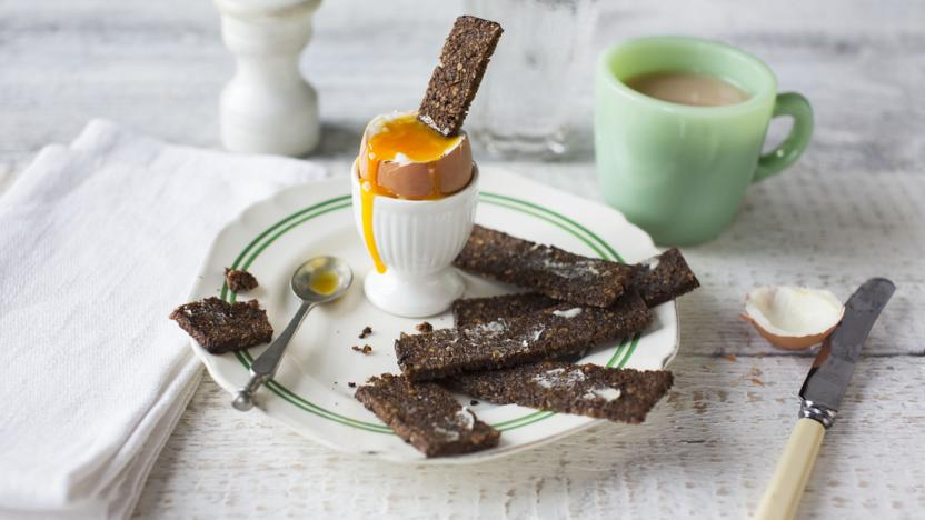 Boiled egg with rye bread soldiers