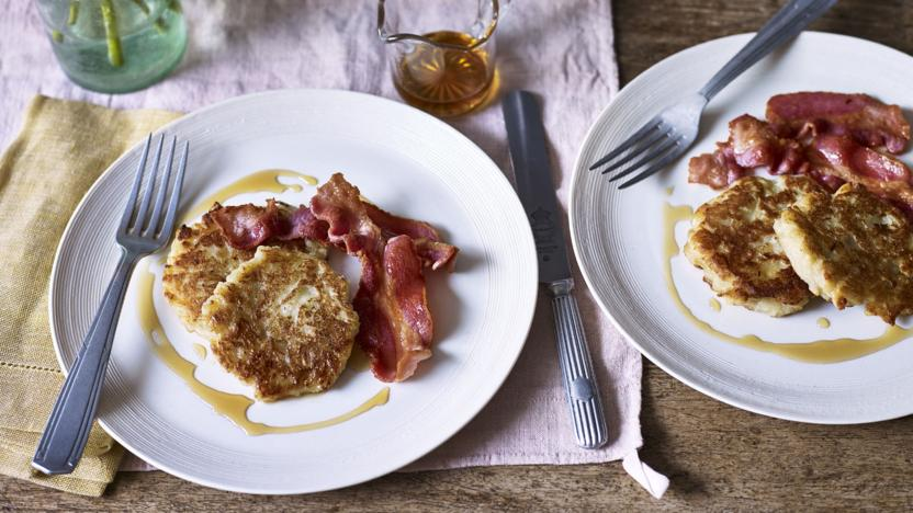 Boxty with crisp streaky bacon and maple syrup