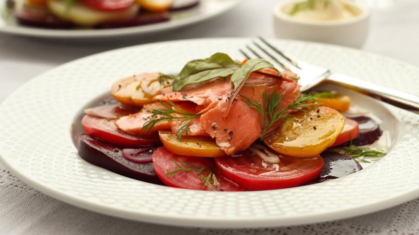 Hot smoked salmon, beetroot salad and horseradish crème fraîche
