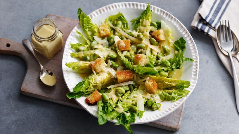 Broad bean and Little Gem salad