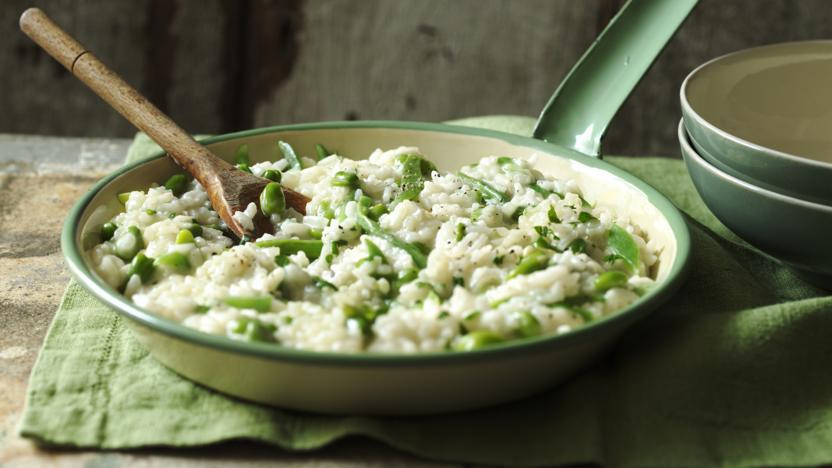 Broad bean and runner bean risotto