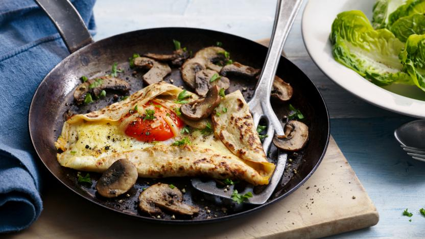 Buckwheat pancakes with mushrooms and egg