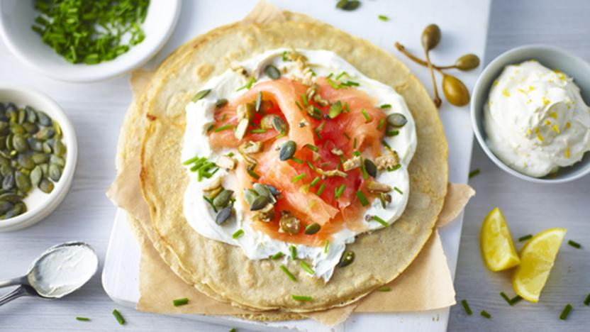 Buckwheat pancakes with smoked salmon and citrus cream cheese