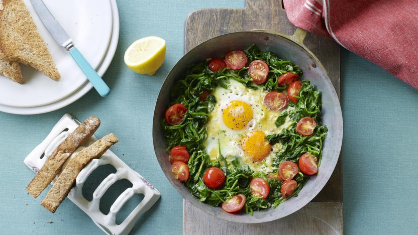 Butter-poached egg in a vegetable nest