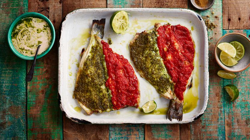 Mexican fish with refried beans