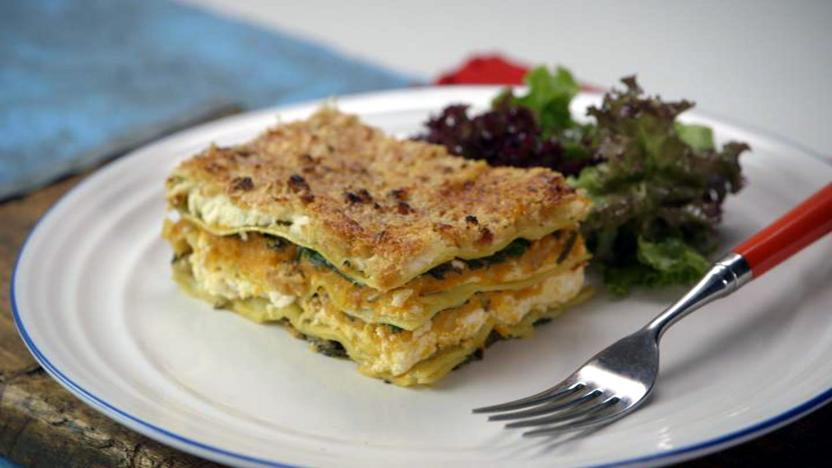 Butternut squash and sweet potato lasagne