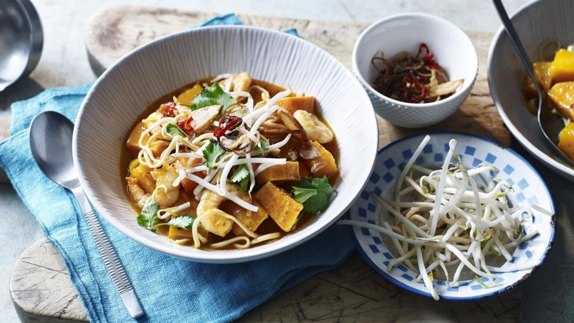 Butternut squash and prawn curry with noodles