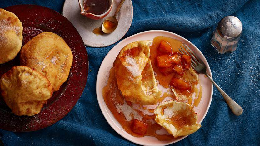 Buñuelos with spiced guava syrup