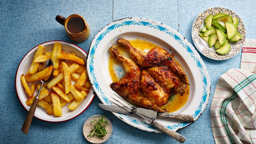 Caribbean roast chicken with chips and gravy