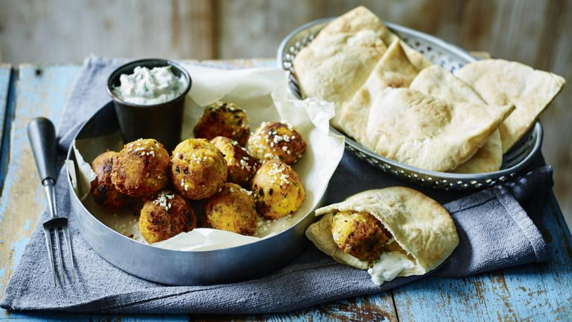 Carrot and coriander falafel