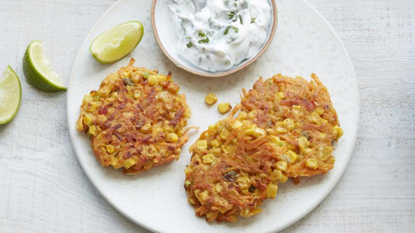 Carrot and sweetcorn fritters