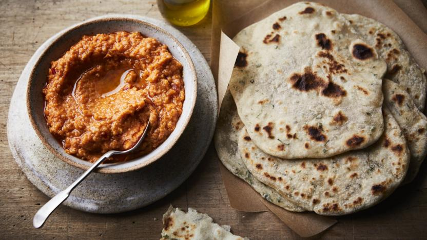 Carrot hummus with garlic and herb flatbreads