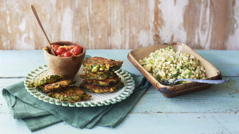 Cauliflower couscous with kale and feta fritters and tomato chutney