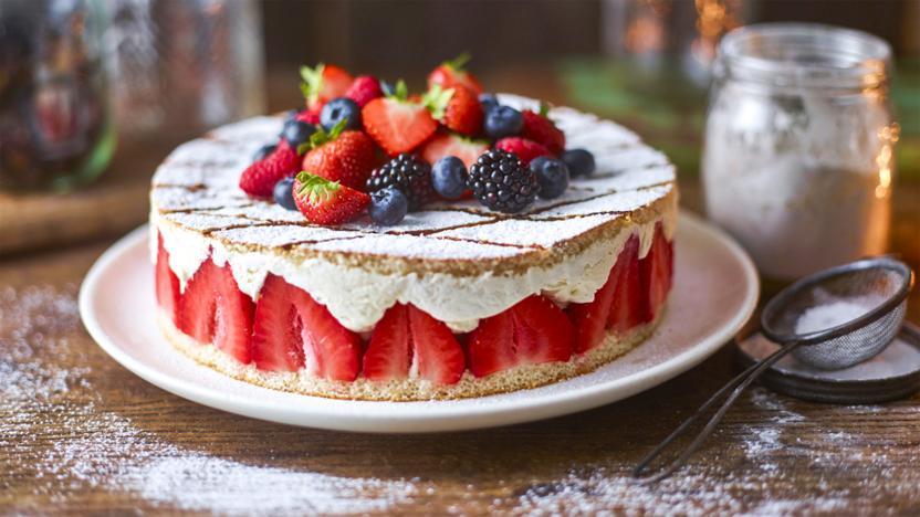 Cheat's strawberry gâteau