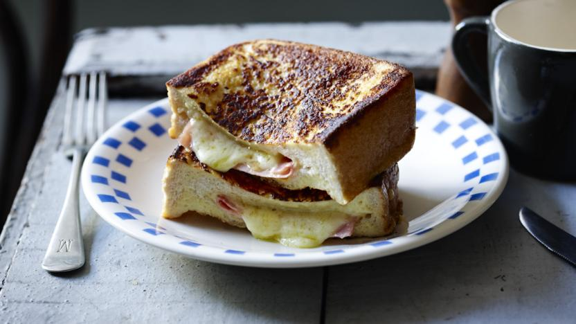 French toast with ham and cheddar