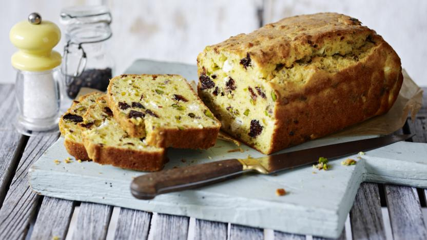 Cheese, pistachio and prune cake