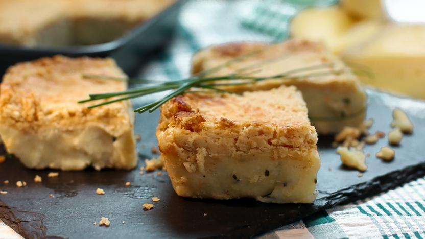 Cheese, potato and onion pie