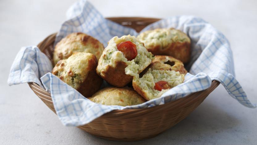Cheese and cherry tomato muffins