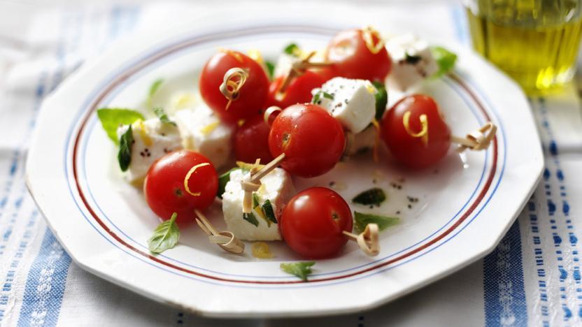 Cherry tomato, marinated feta and basil skewers