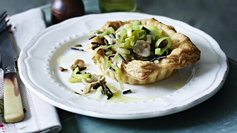 Chestnut, leek and mushroom tartlets