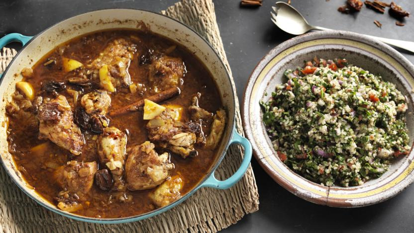 Chicken and lemon tagine with herby tabbouleh recipe bbc food chicken and lemon tagine with herby tabbouleh forumfinder Image collections