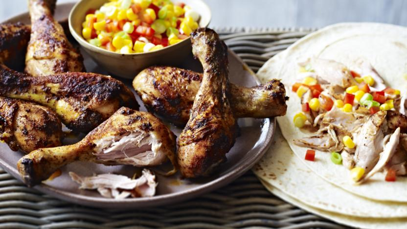 Chicken Fajita Drumsticks With Mexican Corn Salad Recipe Bbc Food