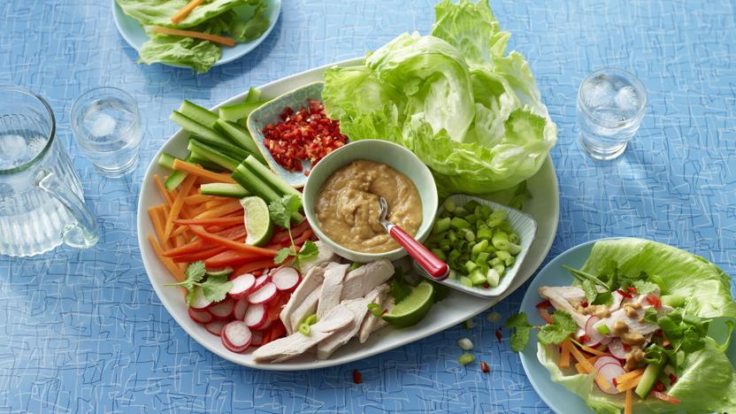 Chicken Satay Wraps Recipe Bbc Food