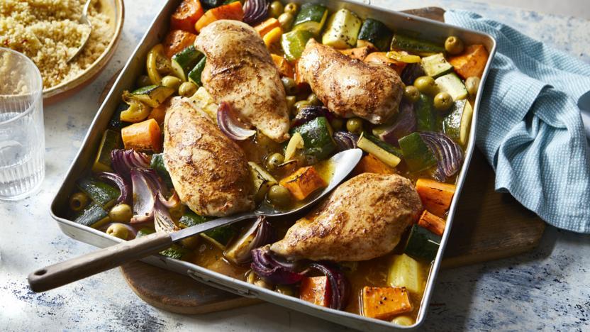 Chicken tagine traybake