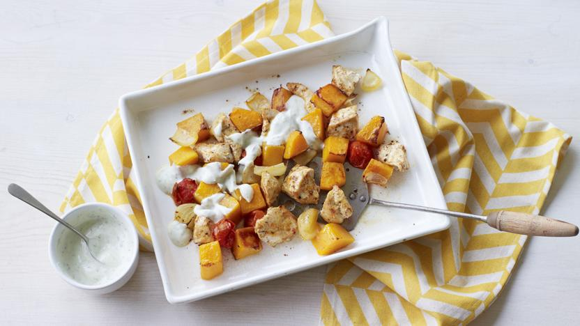 Chicken with butternut squash, cherry tomatoes and minty yoghurt dressing