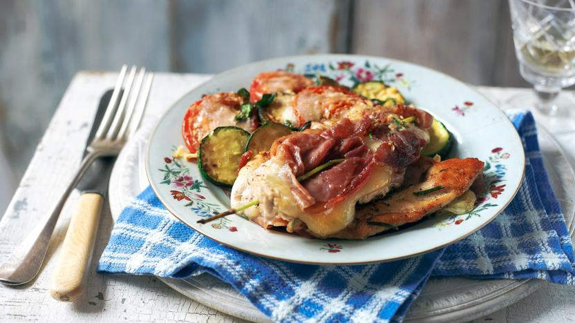 Chicken with cheese, prosciutto and roasted courgettes