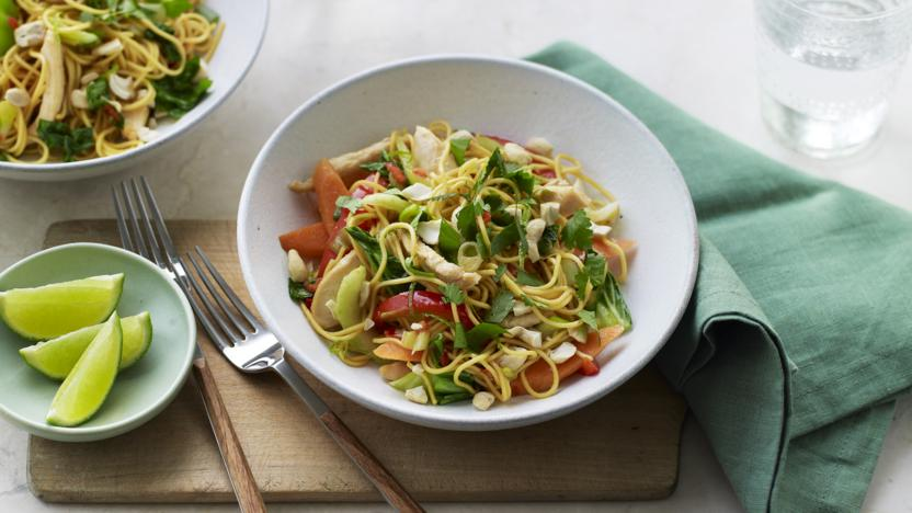 Chicken and cashew noodle stir-fry