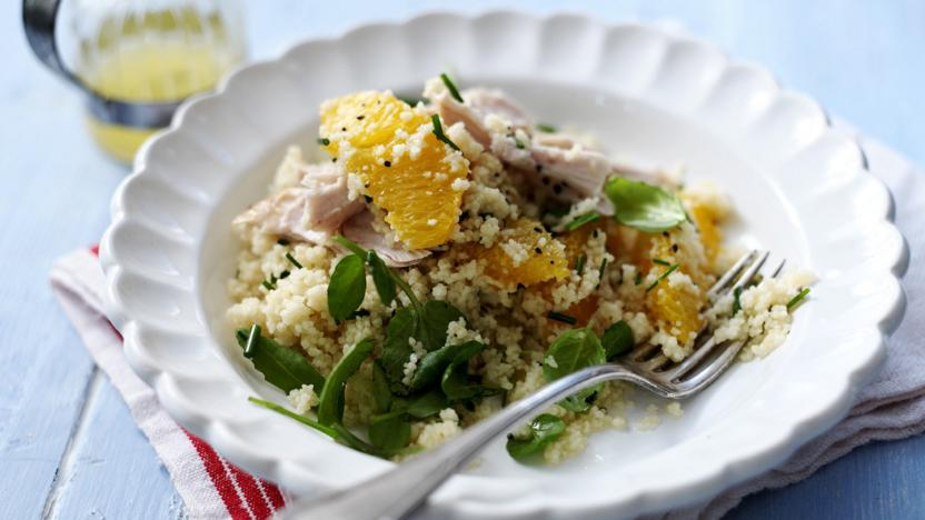 Chicken salad with couscous and oranges