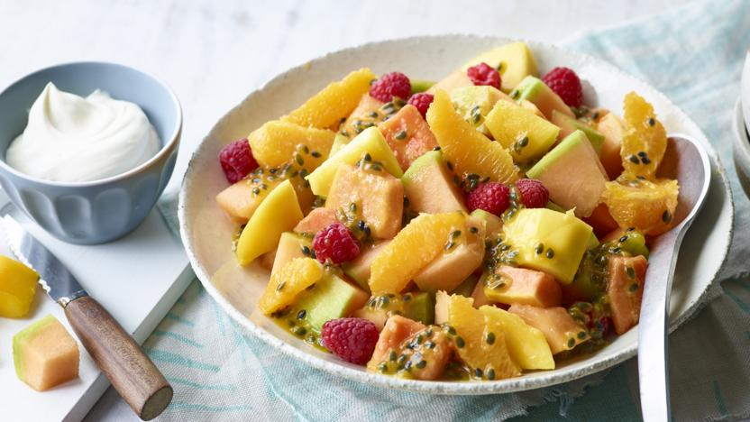 Chilled fresh fruit salad