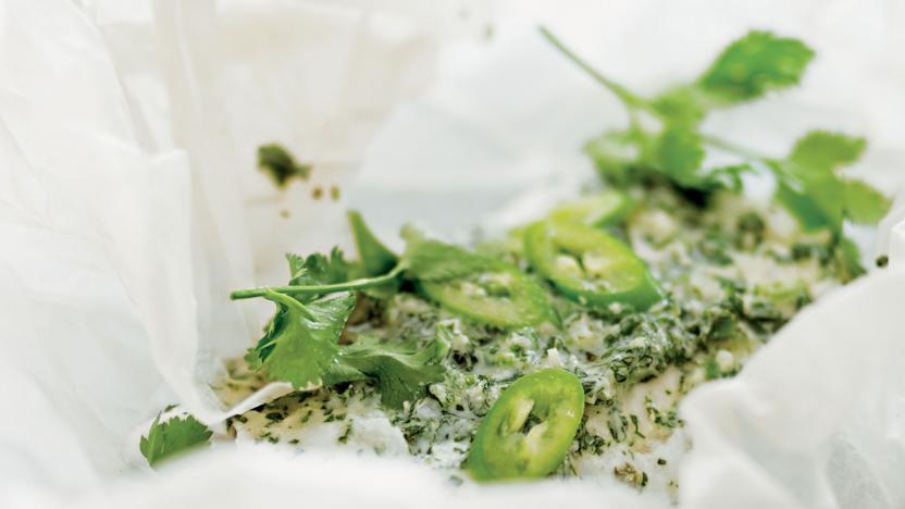 Chilli and coriander fish parcel