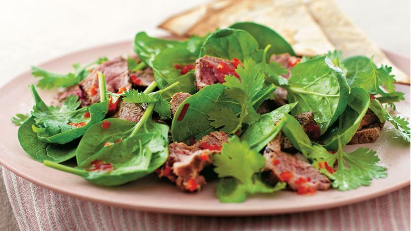 Chilli beef salad with coriander