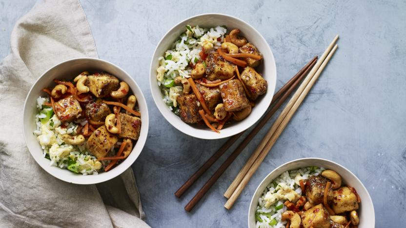 Chilli-fried tofu with egg-fried rice