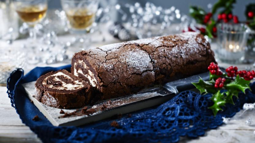Christmas Yule Log Cake.Chocolate And Chestnut Christmas Log