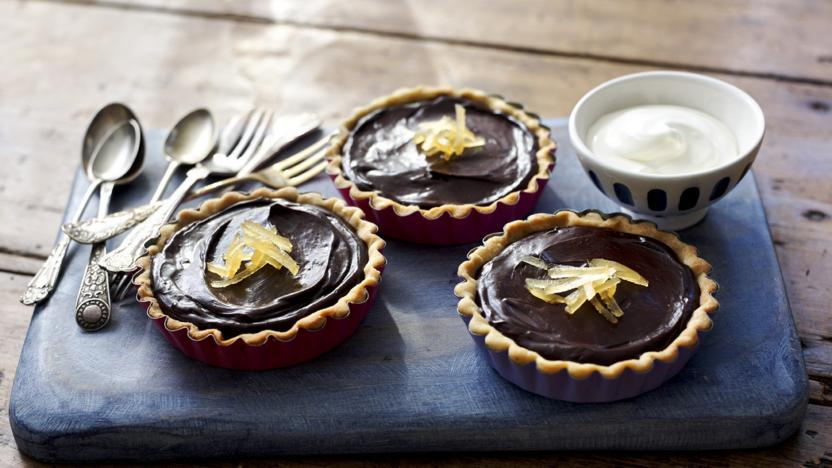 Chocolate and ginger tarts
