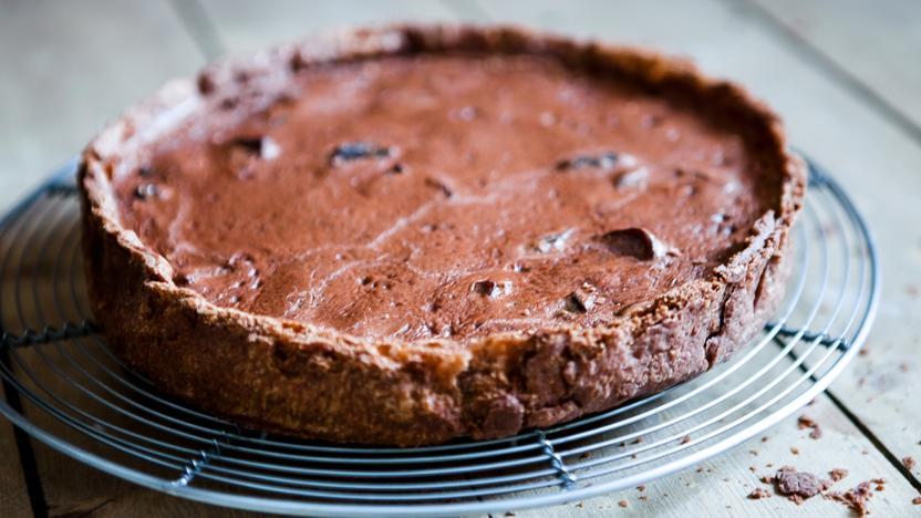 Chocolate and prune tart