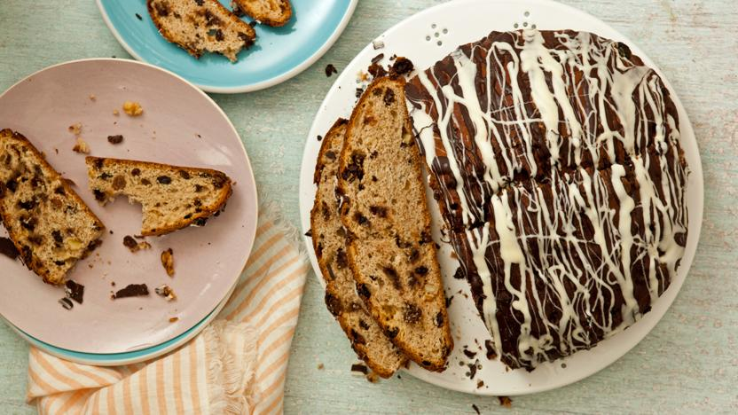 Chocolate barmbrack bread