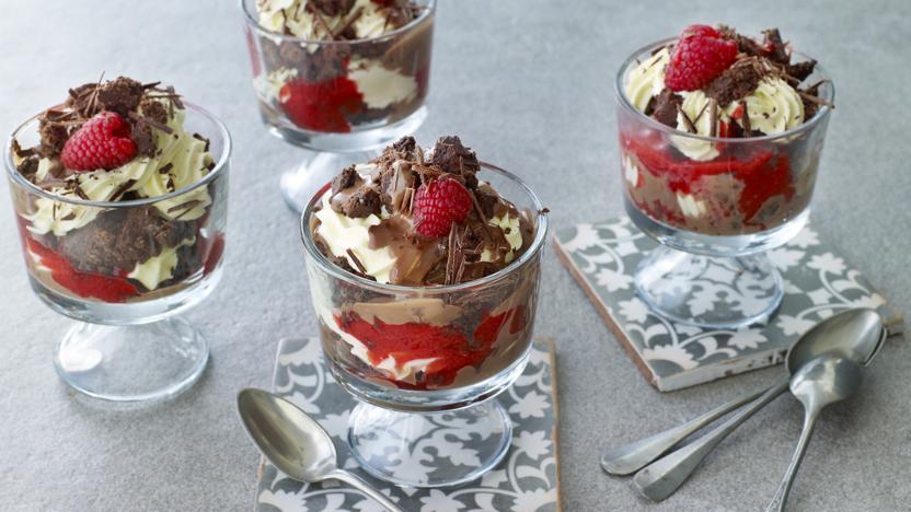 Chocolate brownie and raspberry trifles
