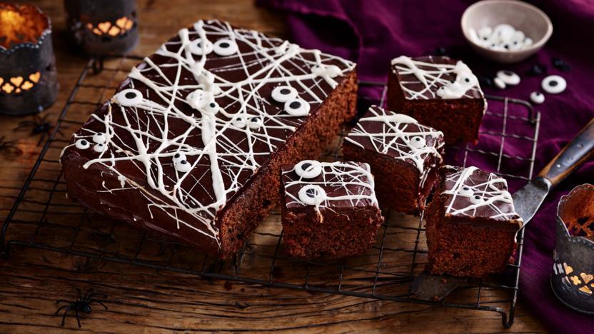Chocolate marshmallow Halloween cobweb cake