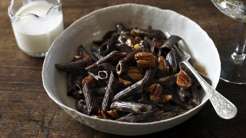 Chocolate pasta with caramel and pecans
