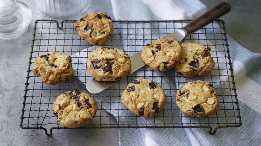 Vegan chocolate and macadamia nut cookies