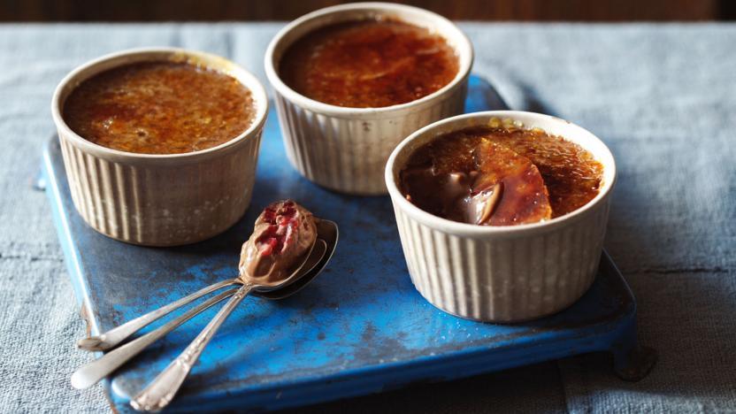 Chocolate and raspberry crème brûlée