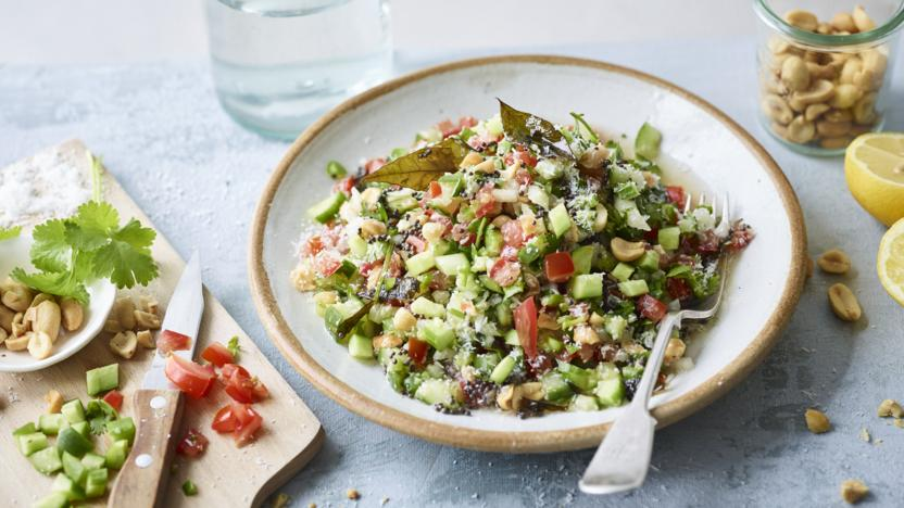 Chopped salad with peanuts