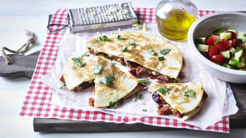Chorizo and bean quesadilla